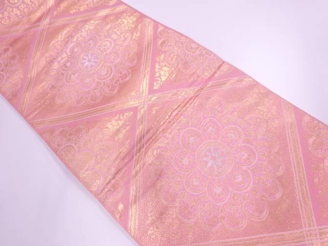 菱に華紋模様織出し袋帯【リサイクル】【中古】【着】 宗sou