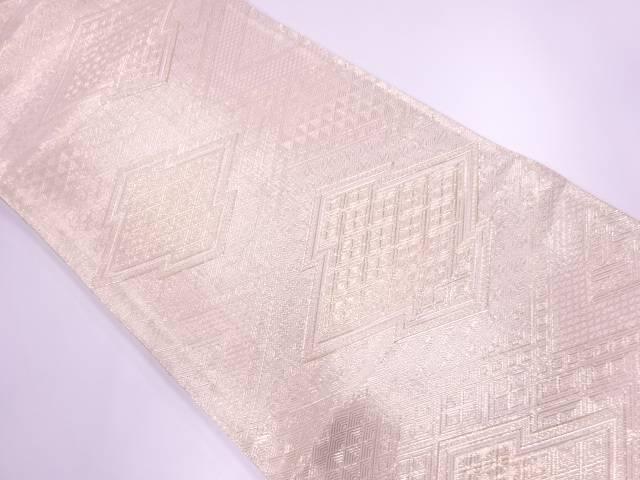 佐賀錦松皮菱に抽象模様織出し全通袋帯【リサイクル】【中古】【着】 宗sou
