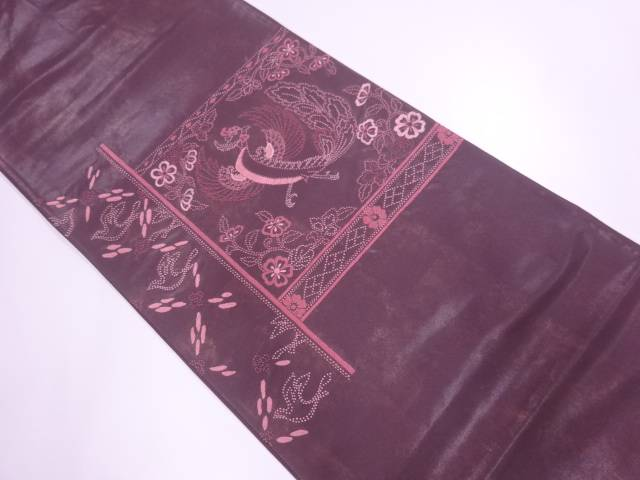 相良刺繍鳳凰に草花模様袋帯【リサイクル】【中古】【着】 宗sou