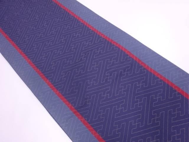 縞に紗綾形模様織出し全通袋帯【リサイクル】【中古】【着】 宗sou
