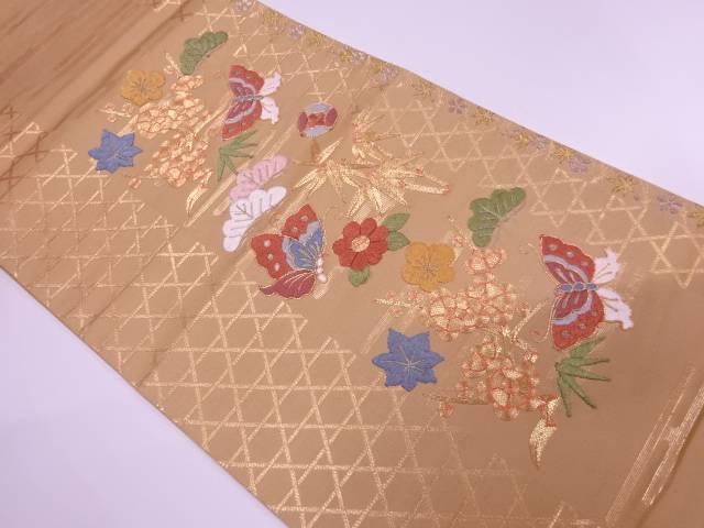 蝶に松竹梅・花模様刺繍袋帯【リサイクル】【中古】【着】 宗sou