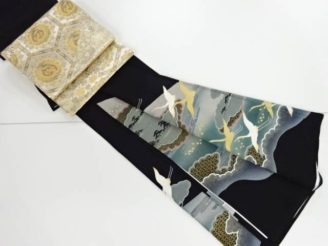 金彩友禅霞・雲に群鶴模様刺繍留袖(比翼付き) 袋帯セット【リサイクル】【中古】【着】 宗sou
