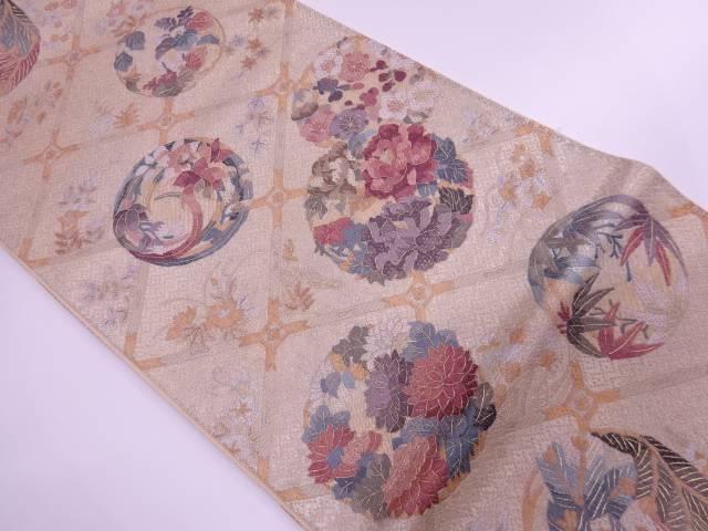 格子に花丸文様刺繍袋帯【リサイクル】【中古】【着】 宗sou