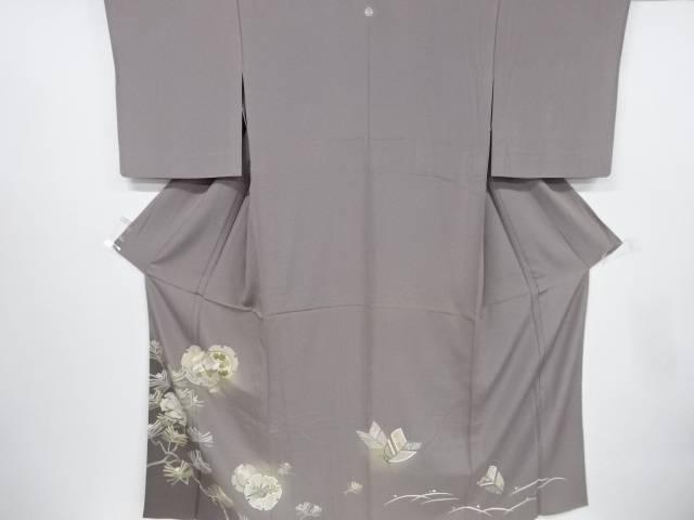 金彩手描き友禅雪輪に鶴・松模様一つ紋単衣色留袖【リサイクル】【中古】【着】 宗sou