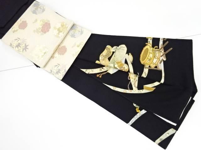 金彩和楽器模様刺繍留袖(比翼付き) 袋帯・和装バッグセット【リサイクル】【中古】【着】 宗sou