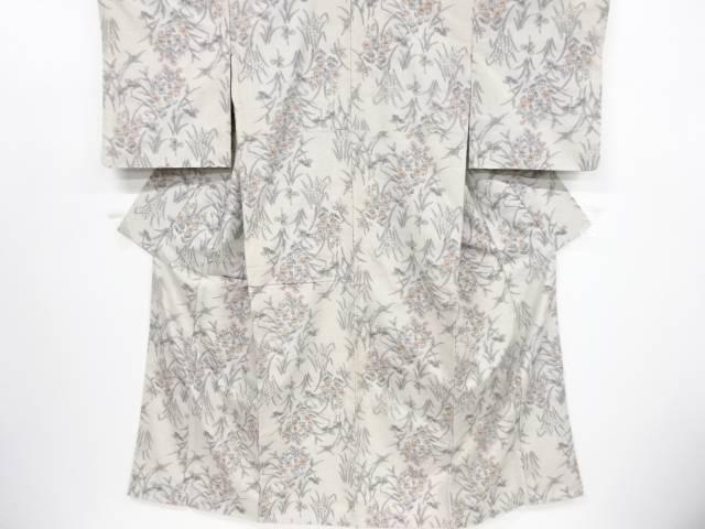 草花模様織り出し手織り真綿紬着物【リサイクル】【中古】【着】 宗sou
