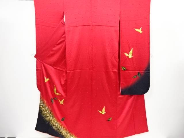 箔置き木の葉に蝶模様振袖・袋帯セット【リサイクル】【中古】【着】 宗sou