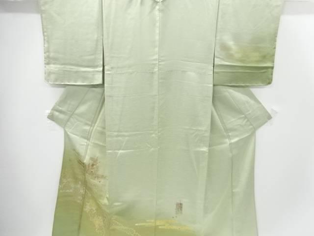 未使用品 金彩雪輪に蔦の葉・枝梅模様刺繍一つ紋単衣訪問着【リサイクル】【着】 宗sou