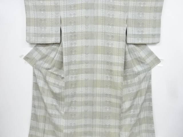 縞に幾何学模様小紋着物【リサイクル】【中古】【着】 宗sou