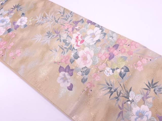 純金箔椿に梅・笹模様織出し袋帯【リサイクル】【中古】【着】 宗sou