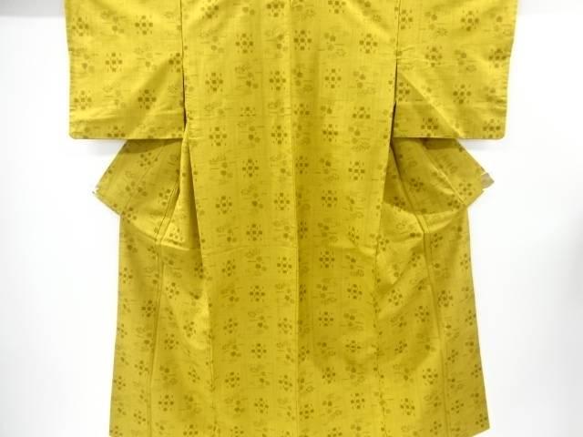琉球絣柄織り出し手織り真綿紬着物【リサイクル】【中古】【着】 宗sou