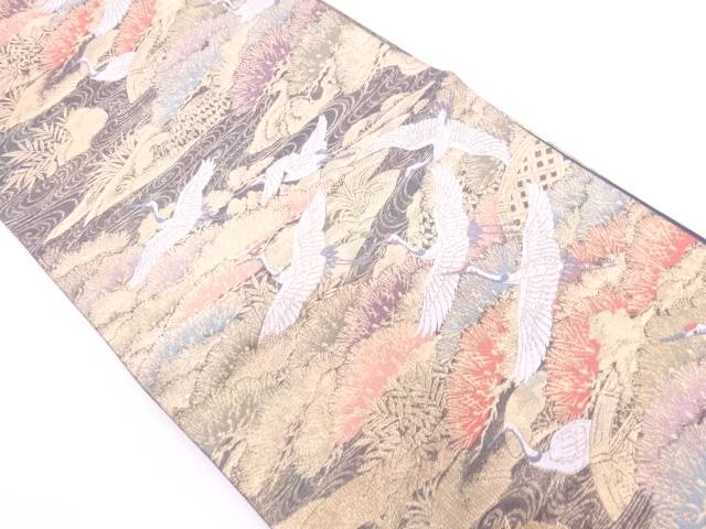 松に群鶴模様織出し袋帯【リサイクル】【中古】【着】 宗sou