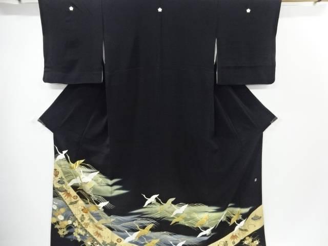 板東八十助 群鶴に花宝尽くし模様刺繍留袖(比翼付き)【リサイクル】【中古】【着】 宗sou