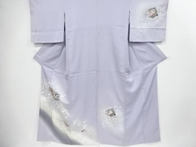 手描き枝垂れ桜に扇鶴模様訪問着【リサイクル】【中古】【着】 宗sou