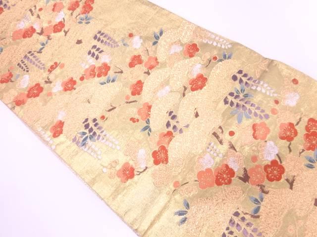 松梅に藤模様織出し袋帯【リサイクル】【中古】【着】 宗sou