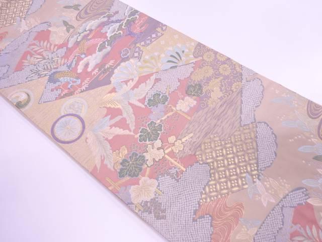 松鶴に草花・古典柄模様織出し袋帯【リサイクル】【中古】【着】 宗sou