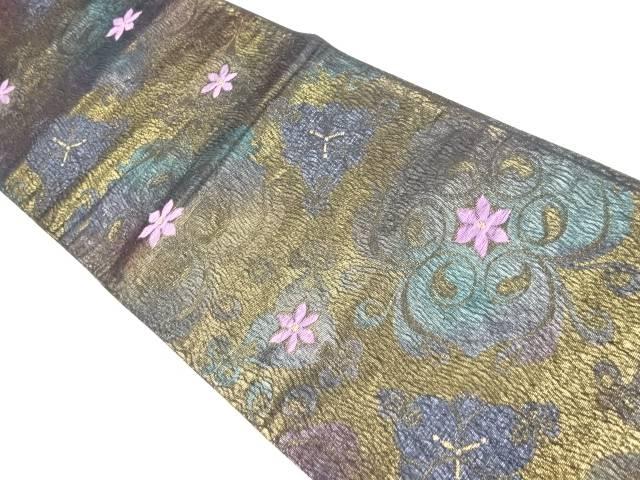 帝王紫 唐花模様織り出し袋帯【リサイクル】【中古】【着】 宗sou