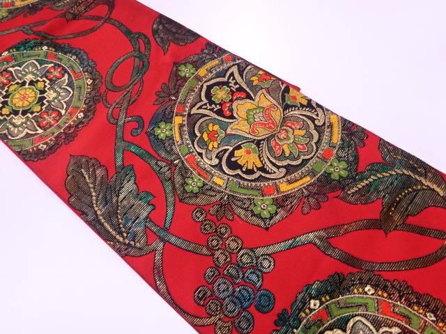 華紋に葡萄唐草模様織出し袋帯【リサイクル】【中古】【着】 宗sou