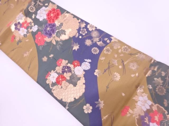 雪輪に牡丹・菊吹寄模様織出し全通袋帯【リサイクル】【中古】【着】 宗sou