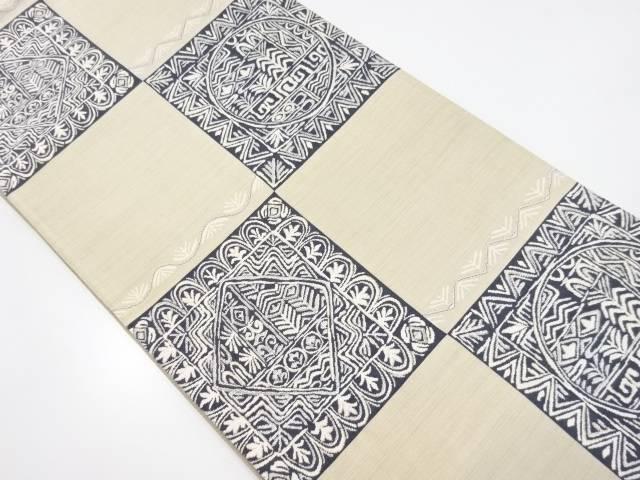 市松に花更紗模様織り出し全通袋帯【リサイクル】【中古】【着】 宗sou