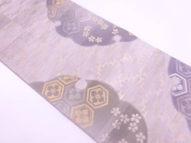 未使用品 金彩雪輪に桜・花菱模様袋帯【リサイクル】【着】 宗sou