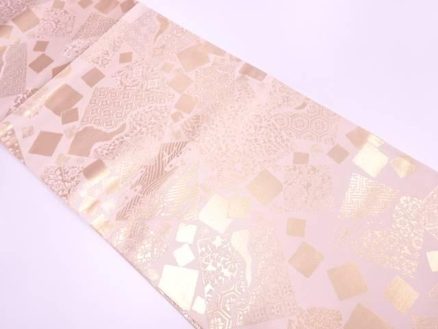 未使用品 陰山織物製 松尾光琳作 色紙散らしに草花・古典柄模様織出し袋帯(未仕立て)【リサイクル】【着】 宗sou