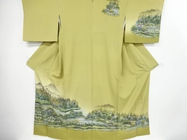 茶道具 茶道 現品 着物 作家物 手描き湖畔模様一つ紋訪問着 日本未発売 リサイクル 中古 着 宗sou