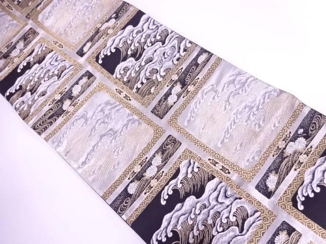 未使用品 荒波に古典柄模様織出し袋帯【リサイクル】【着】 宗sou