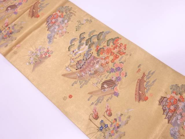 城に船・草花模様織出し袋帯【リサイクル】【中古】【着】 宗sou