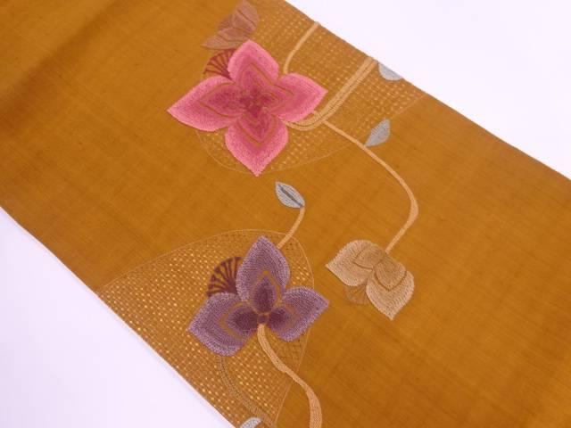相良刺繍紬カットワーク草花模様名古屋帯【リサイクル】【中古】【着】 宗sou