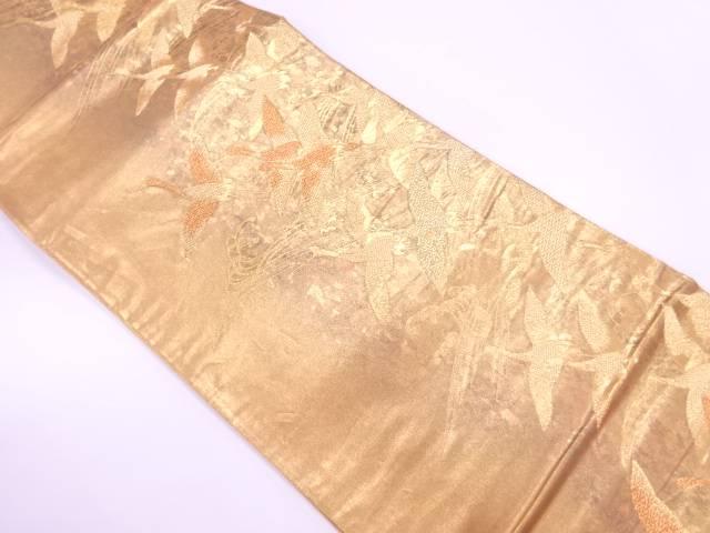 引箔荒波に群鶴模様織出し袋帯【リサイクル】【中古】【着】 宗sou