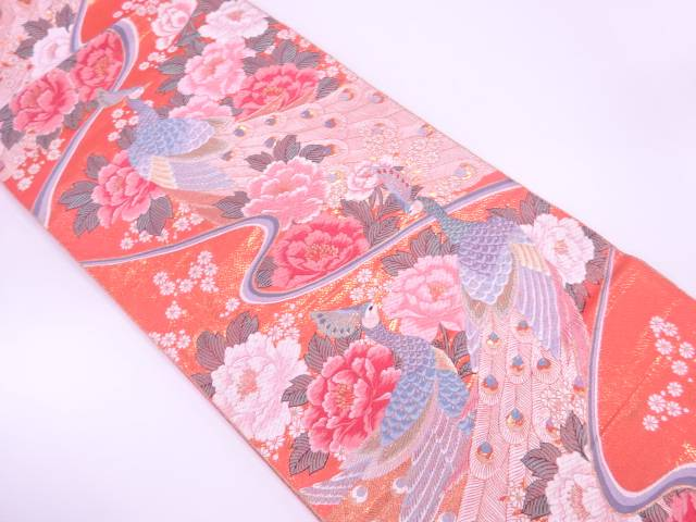 24K純金箔孔雀に牡丹模様織出し袋帯【リサイクル】【中古】【着】 宗sou