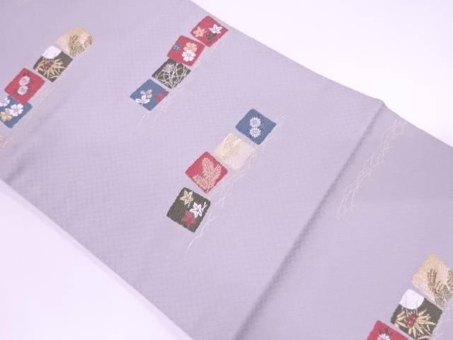 色紙に草花模様織出し名古屋帯【リサイクル】【中古】【着】 宗sou