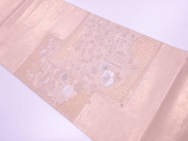 相良刺繍御所車に草花模様袋帯【リサイクル】【中古】【着】 宗sou