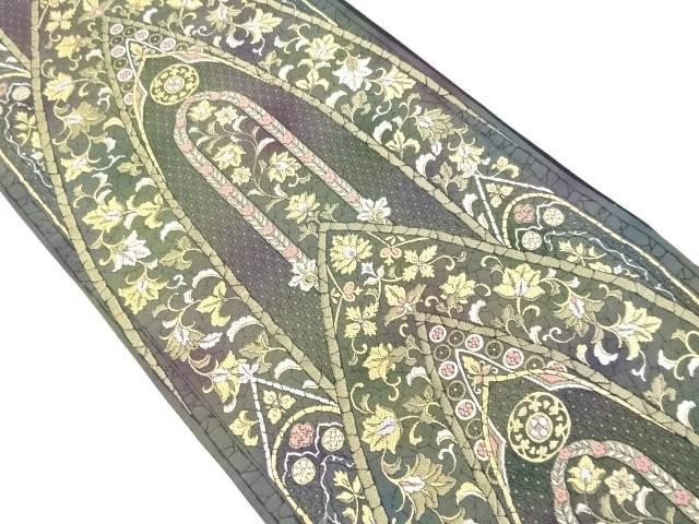 金銀糸花更紗模様織り出し袋帯【リサイクル】【中古】【着】 宗sou