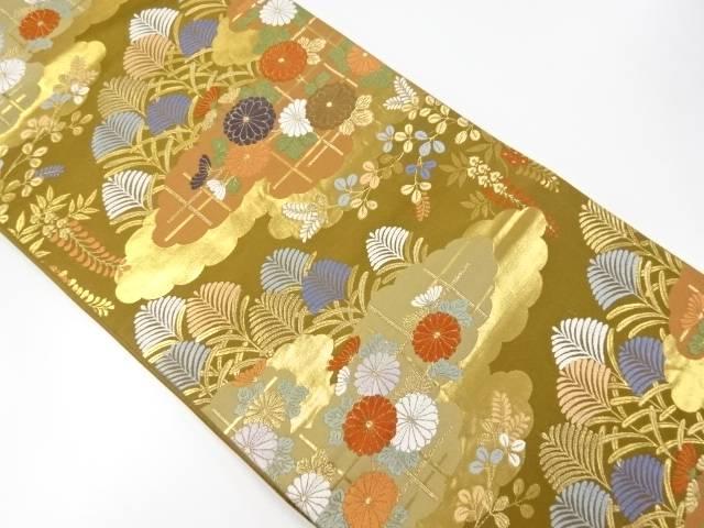 唐織雲取りに秋草模様織り出し袋帯【リサイクル】【中古】【着】 宗sou