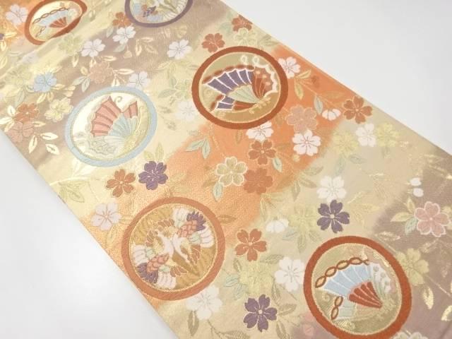 金糸枝垂れ桜に向かい鶴・蝶模様織り出し袋帯【リサイクル】【中古】【着】 宗sou