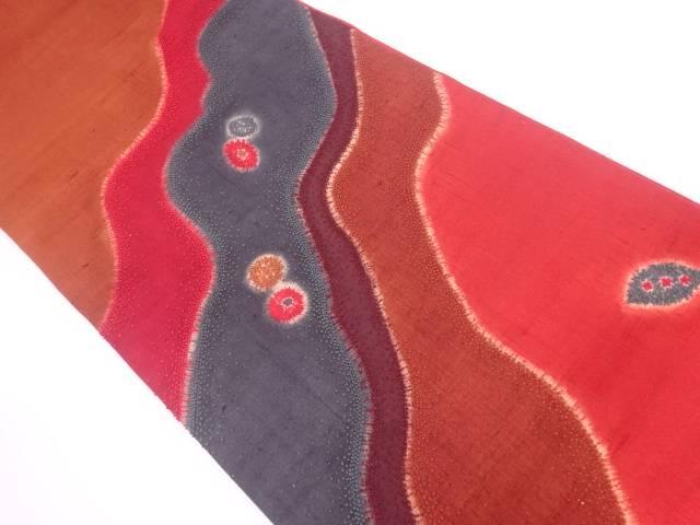 手織り紬相良刺繍道長取りに抽象模様袋帯【リサイクル】【中古】【着】 宗sou