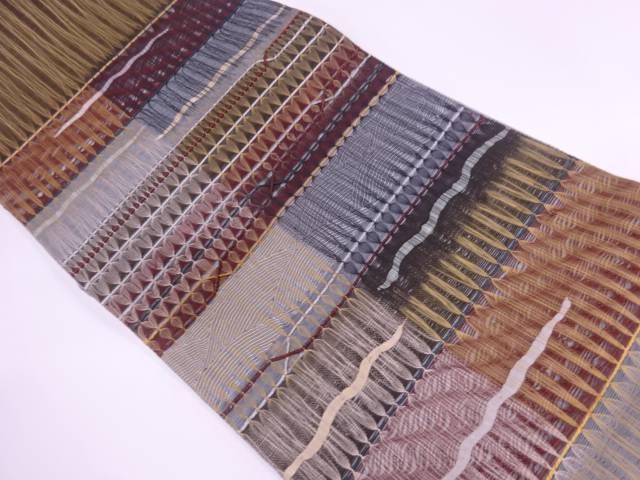 変わり織波に横段模様袋帯【リサイクル】【中古】【着】 宗sou