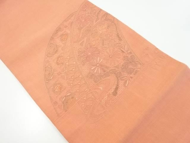 未使用品 節紬汕頭蘇州刺繍糸巻きに秋草模様袋帯【リサイクル】【着】 宗sou