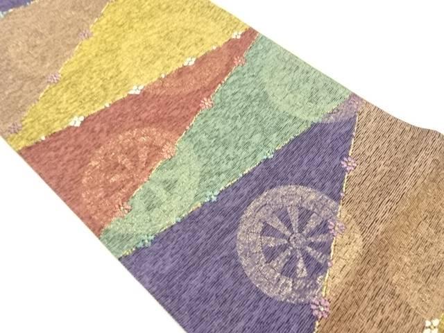 未使用品 金通し石畳に源氏車模様織り出し袋帯【リサイクル】【着】 宗sou