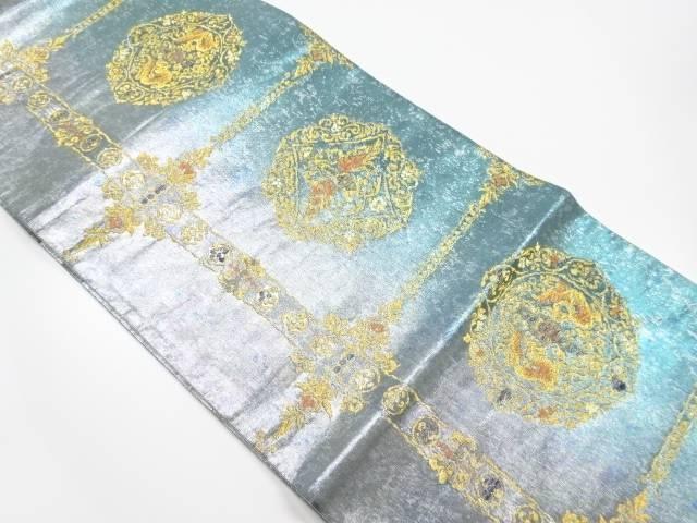 引き箔華紋に向かい取り模様織り出し袋帯【リサイクル】【中古】【着】 宗sou