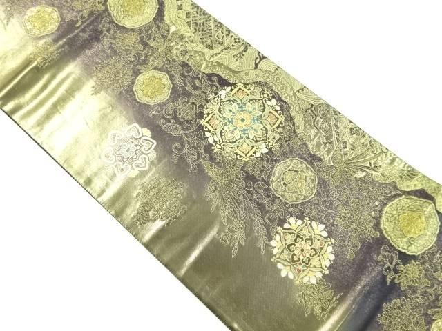 箔置螺鈿華紋に尾長鳥模様織り出し袋帯【リサイクル】【中古】【着】 宗sou