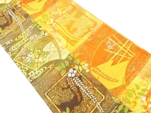 本金地紙に藤・萩模様織出袋帯【リサイクル】【中古】【着】 宗sou