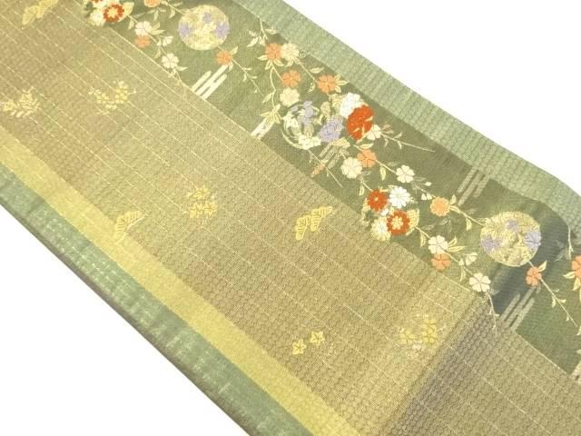 枝垂れ桜に花丸紋織り出し袋帯【リサイクル】【中古】【着】 宗sou