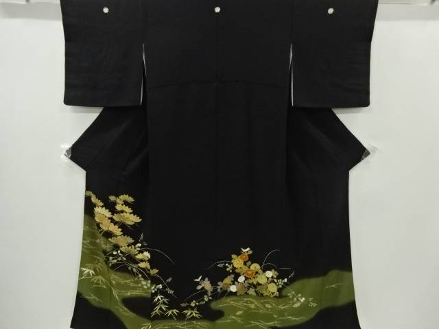 金彩松菊萩模様刺繍留袖(比翼付き)【リサイクル】【中古】【着】 宗sou