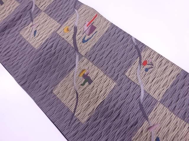 すくい織色紙に抽象模様織出し袋帯【リサイクル】【中古】【着】 宗sou