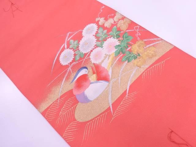未使用品 綴れ鴛鴦に菊模様織出し名古屋帯【リサイクル】【着】 宗sou