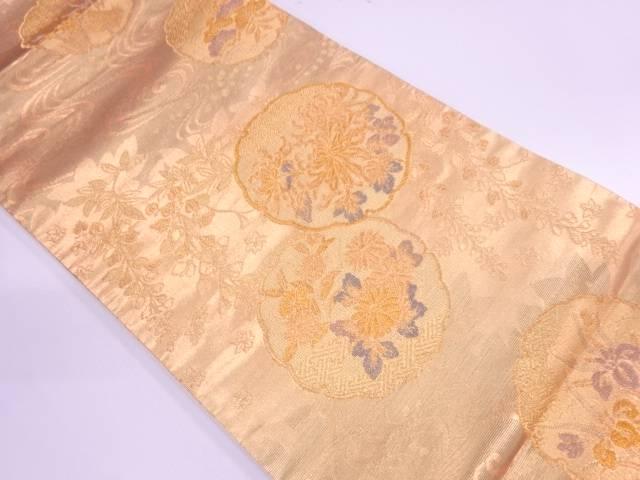 雪輪に草花模様織出し袋帯【リサイクル】【中古】【着】 宗sou