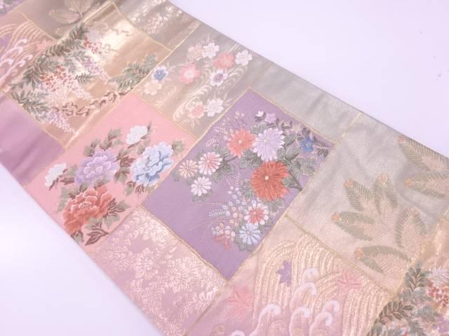 若松に草花模様織出し袋帯【リサイクル】【中古】【着】 宗sou